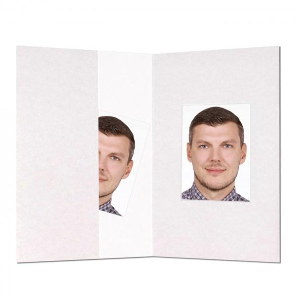 Passbild-Mäppchen weiß mit Ausschnitt, 100 Stück