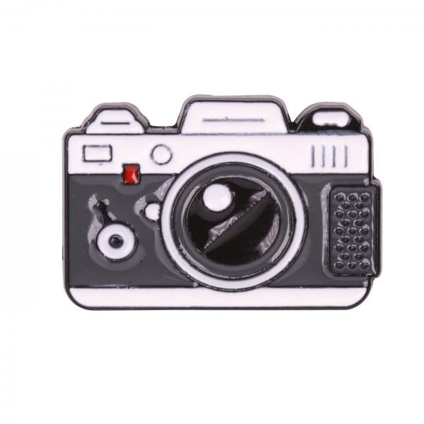 B.I.G. Anstecknadel Pin - Kamera grau/weiß