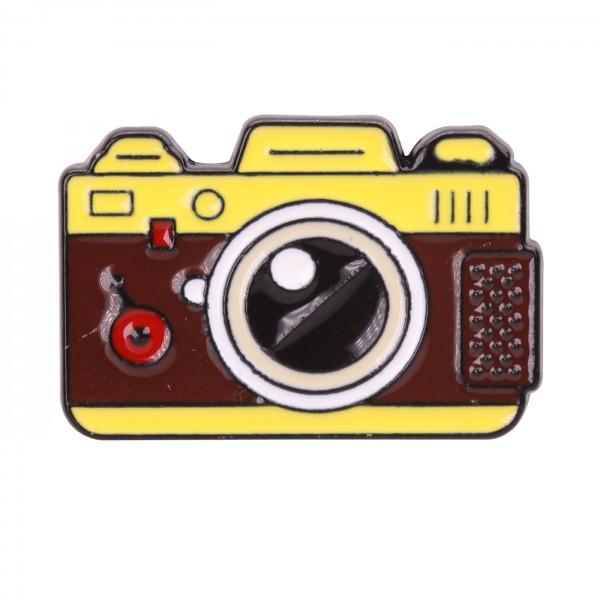 B.I.G. Anstecknadel Pin - Kamera braun/gelb