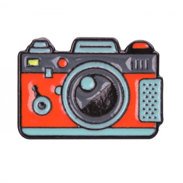 B.I.G. Anstecknadel Pin - Kamera rot/grau